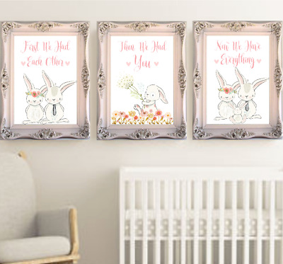 First We Had Each Other Bunny Rabbit Nursery Prints Set, Baby Room Art Print