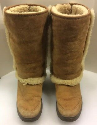 94dff37f48e UGG Women 8 US Boots Sunburst Tall Suede Sheepskin Cuff Brown $275 5218