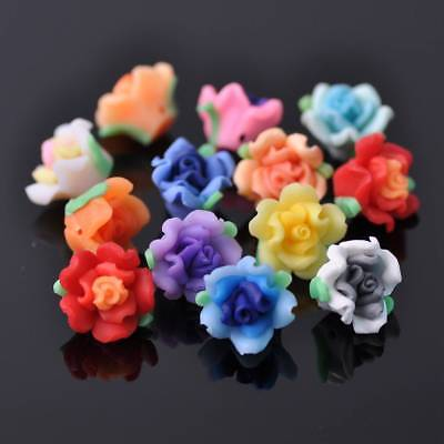 Wholesale 10/50pcs 15mm Random Mixed Polymer Clay Flower Spacer Loose Beads