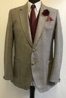 Ms2488 Hardy Amies At Hepworths Men's Brown Vintage Blazer Jacket Size 40 Uk
