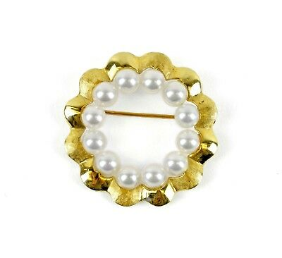 """14k Yellow Gold (12) 5mm White Pearl Circle Wreath Brooch Pin 1.25"""" x 1/4"""""""