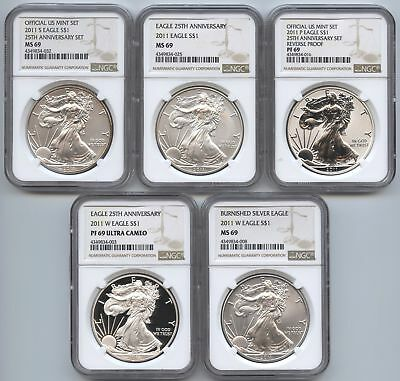 2011 American Eagle 5-Coin Set - NGC PF69 & MS69 Certified - 25th Ann. - AS465