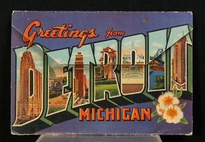 """ca. 1940 """"Greetings from Detroit"""" Linen Postcard Foldout Booklet"""