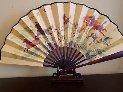 13 inches silk  horses Fan with Chinese Writing US seller fast shipping