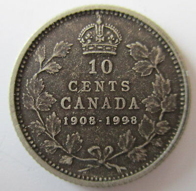 1998 Canada 1908-1998 Antique Finish Sterling Silver 10 Cents Proof Dime Coin