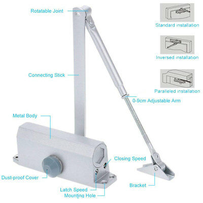 Aluminum Door Closer 45-65kg Two Independent Valves Control Wooden Metal Door