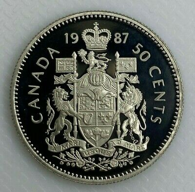 1987 Canada 50 Cents Proof Half Dollar Heavy Cameo Coin