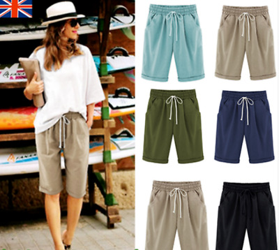 Womens Ladies Linen Summer Casual Shorts Holiday Pants UK Plus Size 8-24 MIDI