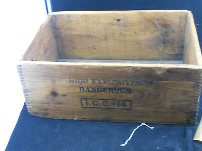 1910s Vintage National Powder Co. High Explosives Gelatin Dynamite Box Crate