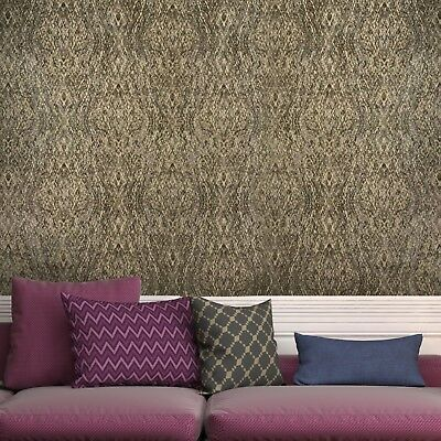 Modern Non-Woven Wallpaper kaleidoscope gray gold metallic embossed textured 3D