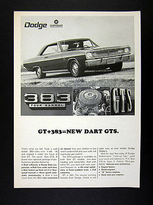 1967 Dodge Dart GT GTS Package 383 V8 Engine car photo vintage print Ad