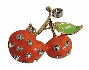 New Vintage Vintage style Gold tone Enamel Peach Diamante Cherry Fruit Brooch
