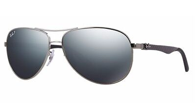 67c36a95f8 POLARIZED RAY-BAN Tech Carbon Gunmetal Aviator Mirror Sunglasses RB 8313  004 K6