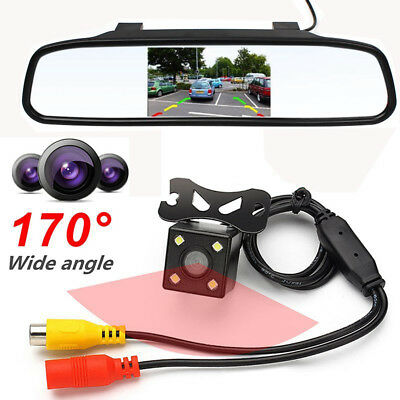 "4.3"" Car TFT LCD Monitor Mirror + HD CCD Reverse Rear View Backup Camera Canada"