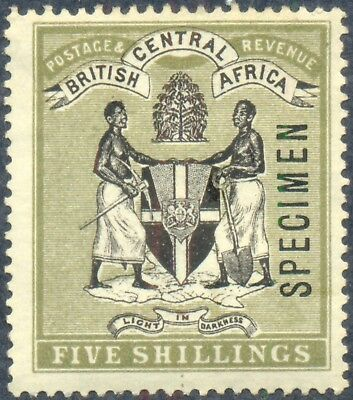 British Central Africa 1896, 5 Shillings Specimen, WMK Crown CC, SG 39, SC 28 NG