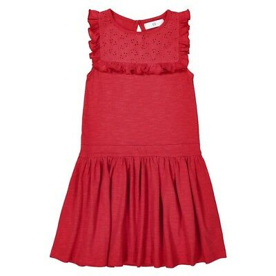 LA REDOUTE GIRLS DRESS WITH EMBROIDERED INSET RED AGE 10 YEARS NEW (ref 380)