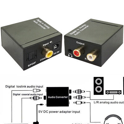 Digital to Analog Coaxial Toslink Audio Adapter Converter Optical Signal L/R RCA