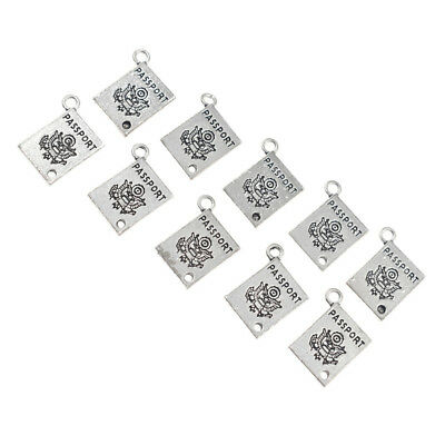 10Pcs Antique Silver Passport Religion Pendants For DIY Necklace Making Jewelry