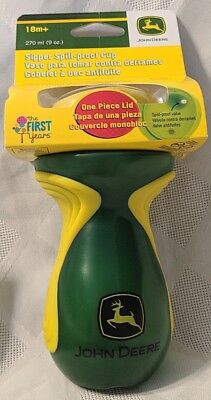 John Deere The First Years Yellow And Green Sipper Spill Proof 9oz Cup BPA Free