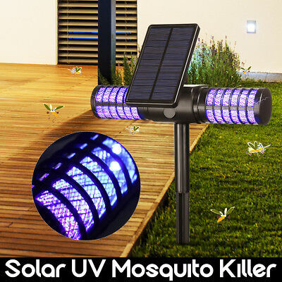 Mosquito Killer Lamp LED Solar Power Fly Insect Trap Catcher Outdoor Light