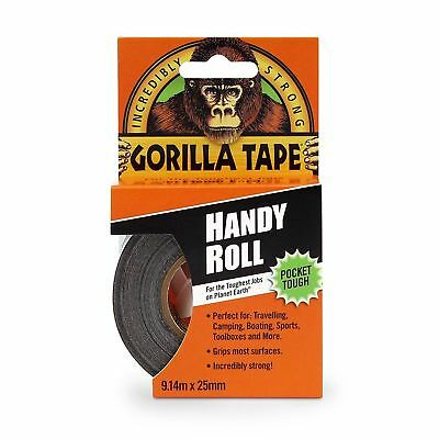 """Gorilla Tape Handy Roll To Go 1"""" wide x 9m Tape Strong Duct Tape by Gorilla Glue"""