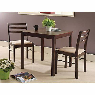 3 Piece Dining Room Small Kitchen Dinette Set Table 2 Chairs Espresso  Finish New