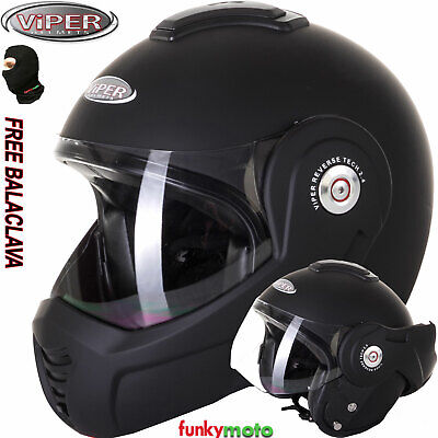 Viper Rs-202 Reverse Flip Up/front Motorcycle Helmet Matt Black Ece Bike Touring