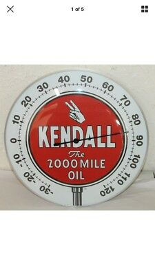 "Kendall Oil Gas Thermometer 12"" Round Glass Dome Sign Vintage Style"