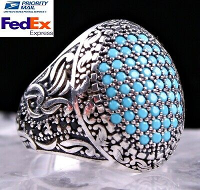 SPECIAL Design Turquoise Stone 925 Sterling Silver Turkish Mens Mans Ring US