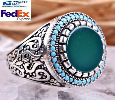 SPECIAL EMERALD Turquoise Stone 925 Sterling Silver Turkish Handmade Men Ring US