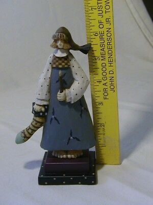 """Williraye WW2303 Girl Holding Candle and Christmas Stocking stands 6"""" tall"""