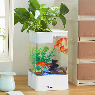Easy to Change Water Fish Bowl LED Aquarium Tank Aquariums Tanks Home Ornament