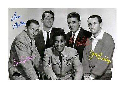 Rat Pack original line up A4 signed picture photograph poster. Choice of frame.