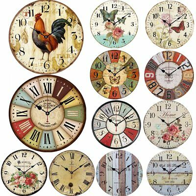 Vintage Wall Clock 34cm Round Retro Antique Style Clocks Living Room Bedroom UK