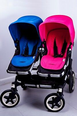 bugaboo donkey twin with bassinet includes pink and blue perfect for twins