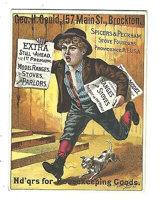 Old Trade Card Spicers & Peckham Stove Founder Providence Gould Brockton NEWSBOY