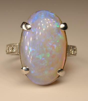 Vintage Art Deco 1920s Platinum Large Fiery Opal and Diamond Ring