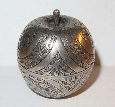 German Early to Mid 18th Century Silver Miniature Apple Form Novelty Vinaigrette