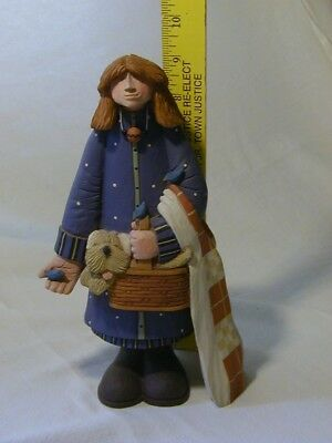 """Williraye WW7704 Girl With Quilt stands 9"""" tall"""