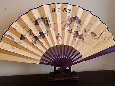 10.5 inches silk Double Dragon fan with Chinese Writing US seller fast shipping