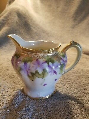Nippon Creamer Hand Painted Gold Trim With Purple Flowers Absolutely Beautiful!