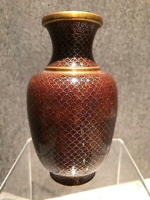 Gold Wire Chinese Cloisonné Vase Late Qing #16