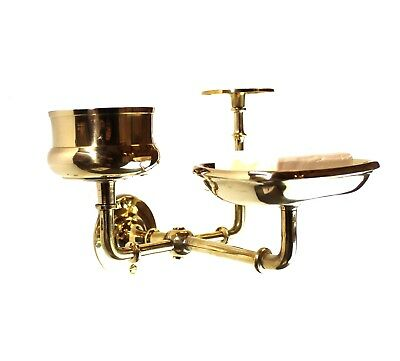 Wall Mount Soap Cup Old Vintage Style Toothbrush Holder in Solid Brass
