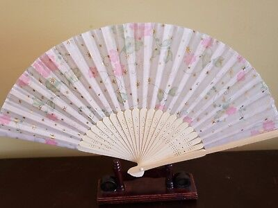 8.5 inches Silk and Bamboo Pink and Green Fan US Seller Fast Shipping