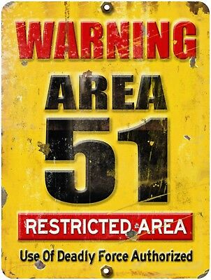 Vintage Retro Reproduction AREA 51 DO NOT ENTER WARNING Metal Sign 9x12    #2