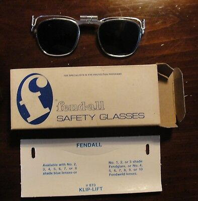 VINTAGE BLUE Lens FENDALL 870 WELDING CUTTING TORCH CLIP ON HAT GLASSES #6 Blue