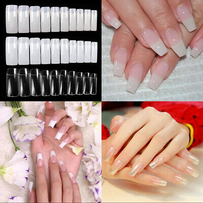 500PCS Natural Clear Acrylic Nail Art Tips Artificial French False Nail UV Gel