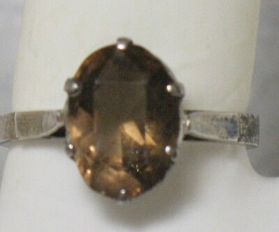 Antique Russian Soviet USSR Ring sz 8 Soviet Brown Stone Brown Topaz Chrystal or
