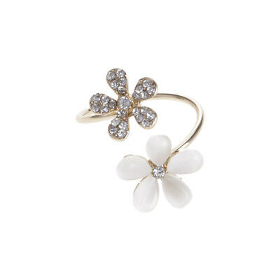 Vintage Lady Jewelry Auger Flower Ring Opening Adjustable Alloy Opals Set Gift