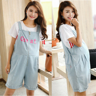 Maternity Jumpsuits Shorts Jeans Rompers Nursing Dots Denim Cotton Cute M/L/XL